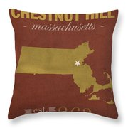 Boston College Eagles Chestnut Hill Massachusetts College Town State Map Poster Series No 020 Throw Pillow