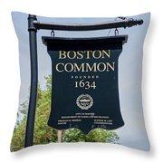 Boston Common Park Sign, Boston, Ma Throw Pillow