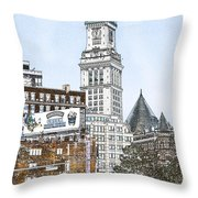 Boston Custom House Tower Throw Pillow