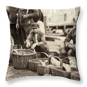 Boston Fish Market, 1909 Throw Pillow