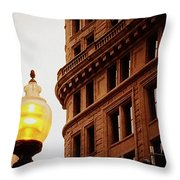 Boston Gas Light Throw Pillow