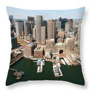 Boston Harbor And Boston Skyline Throw Pillow