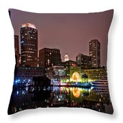 Boston Harbor At Night  Throw Pillow