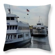 Boston Harbor Cruise Three In A Row Throw Pillow