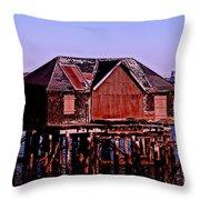 Boston Harbor Pier Dwelling Throw Pillow