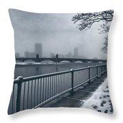 Boston Longfellow Bridge-snow Cityscape Throw Pillow