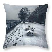 Boston Longfellow Bridge-snow Cityscape V2 Throw Pillow
