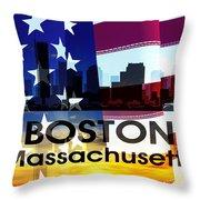 Boston Ma Patriotic Large Cityscape Throw Pillow