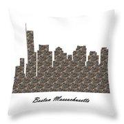 Boston Massachusetts 3d Stone Wall Skyline Throw Pillow