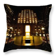 Boston - Night At Post Office Square Throw Pillow