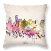 Boston Painted City Skyline Throw Pillow