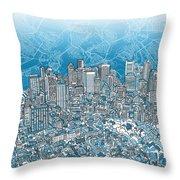 Boston Panorama Abstract 2 Throw Pillow