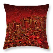 Boston Panorama Red Throw Pillow