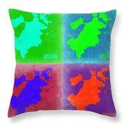 Boston Pop Art Map 2 Throw Pillow by Naxart Studio