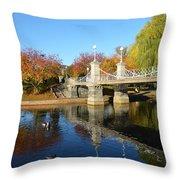 Boston Public Garden Autumn Throw Pillow
