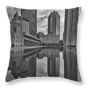 Boston Reflections Bw Throw Pillow