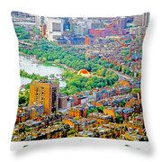 Boston Rooftops And The Charles River Throw Pillow