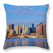 Boston Skyline And Harbor, Massachusetts Throw Pillow