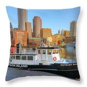 Boston Skyline And Thompson Island Ferry I Throw Pillow