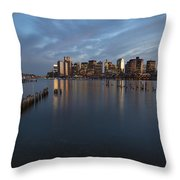 Boston Skyline At Dusk Throw Pillow