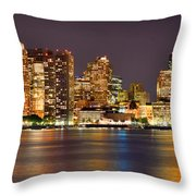 Boston Skyline At Night Panorama Throw Pillow by Jon Holiday