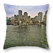 Boston Skyline At Sunset Throw Pillow