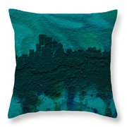 Boston Skyline Brick Wall Mural Throw Pillow