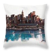 Boston Skyline  Number 1 Throw Pillow