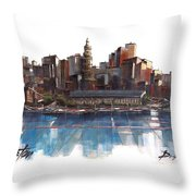 Boston Skyline  Number 3 Throw Pillow
