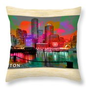 Boston Skyline Painting Throw Pillow