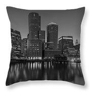Boston Skyline Seaport District Bw Throw Pillow
