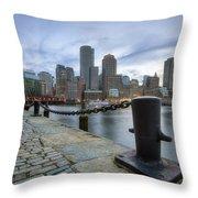 Boston Skyline Sunset Throw Pillow
