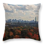 Boston Skyline View From Mt Auburn Cemetery Throw Pillow