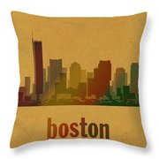 Boston Skyline Watercolor On Parchment Throw Pillow