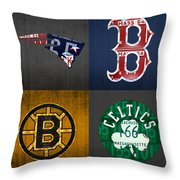 Boston Sports Fan Recycled Vintage Massachusetts License Plate Art Patriots Red Sox Bruins Celtics Throw Pillow
