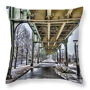 Boston Streetcar Overpass-cambridge V2 Throw Pillow