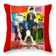 Boston Terrier Art - 30 Years Of Fun Movie Poster Throw Pillow