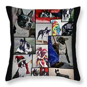 Boston Terrier Watercolor Collage Throw Pillow