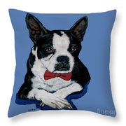 Boston Terrier With A Bowtie Throw Pillow