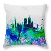 Boston Watercolor Skyline Throw Pillow