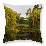 Botanic Garden Bridge At Dusk Throw Pillow
