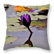Botanical Garden Lotus Flowers Throw Pillow