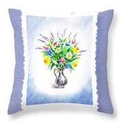Botanical Impressionism Watercolor Bouquet Throw Pillow