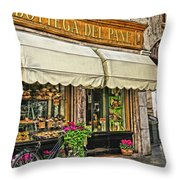 Bottega Del Pane Italian Bakery And Bicycle Throw Pillow