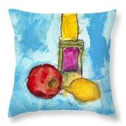 Bottle Apple And Lemon Throw Pillow by Skip Nall