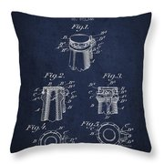 Bottle Cap Fastener Patent Drawing From 1907 - Navy Blue Throw Pillow
