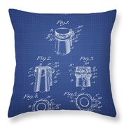 Bottle Cap Fastener Patent From 1907- Blueprint Throw Pillow
