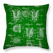 Bottle Cap Patent 1892 - Green Throw Pillow