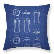 Bottle Cap Patent 1899- Blueprint Throw Pillow