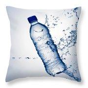 Bottle Water And Splash Throw Pillow